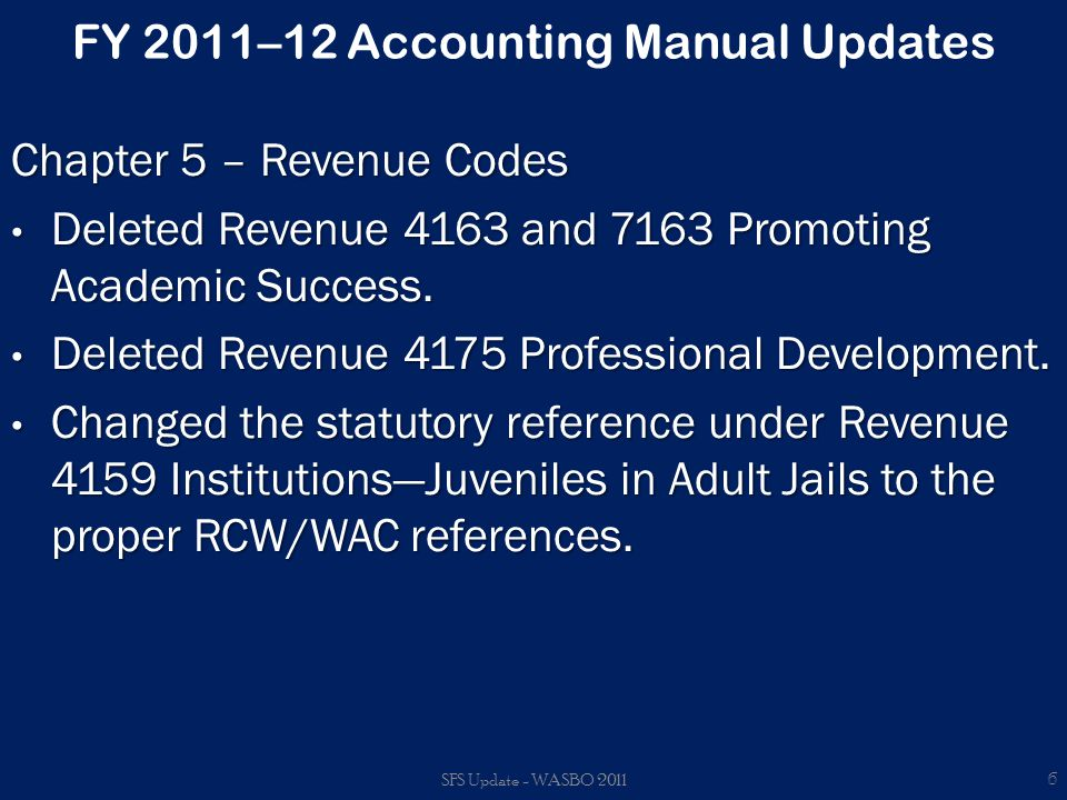 FY 2011–12 Budget Update New items.Removed: – Revenue Account 2299.