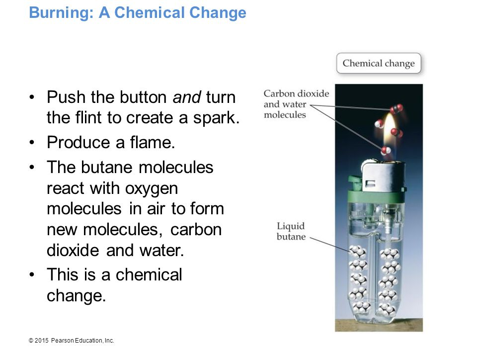 © 2015 Pearson Education, Inc. Push the button and turn the flint to create a spark. Produce a flame. The butane molecules react with oxygen molecules