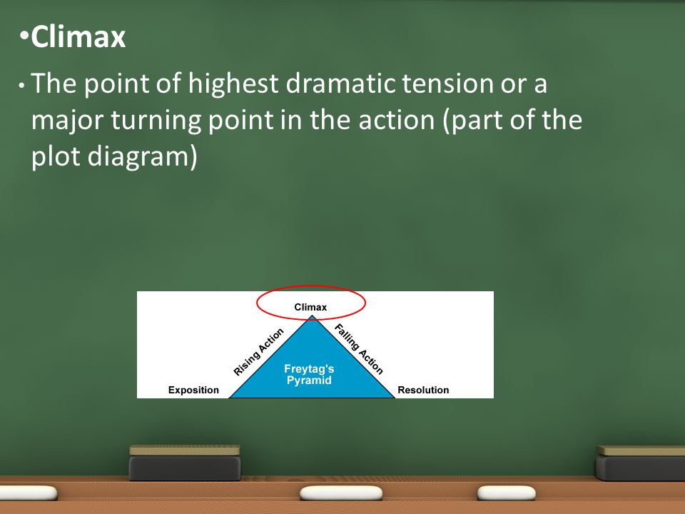 The point of highest dramatic tension or a major turning point in the action (part of the plot diagram) Climax