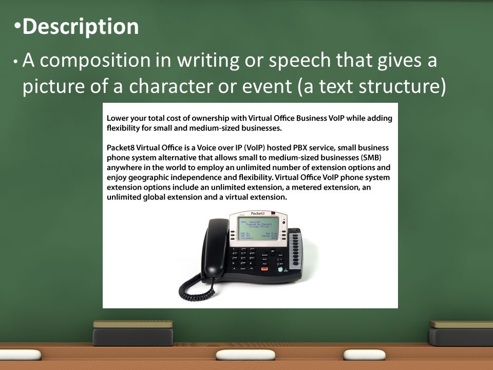 A composition in writing or speech that gives a picture of a character or event (a text structure) Description