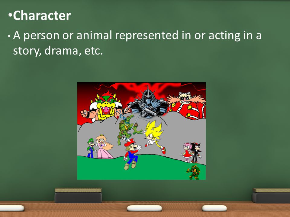 A person or animal represented in or acting in a story, drama, etc. Character