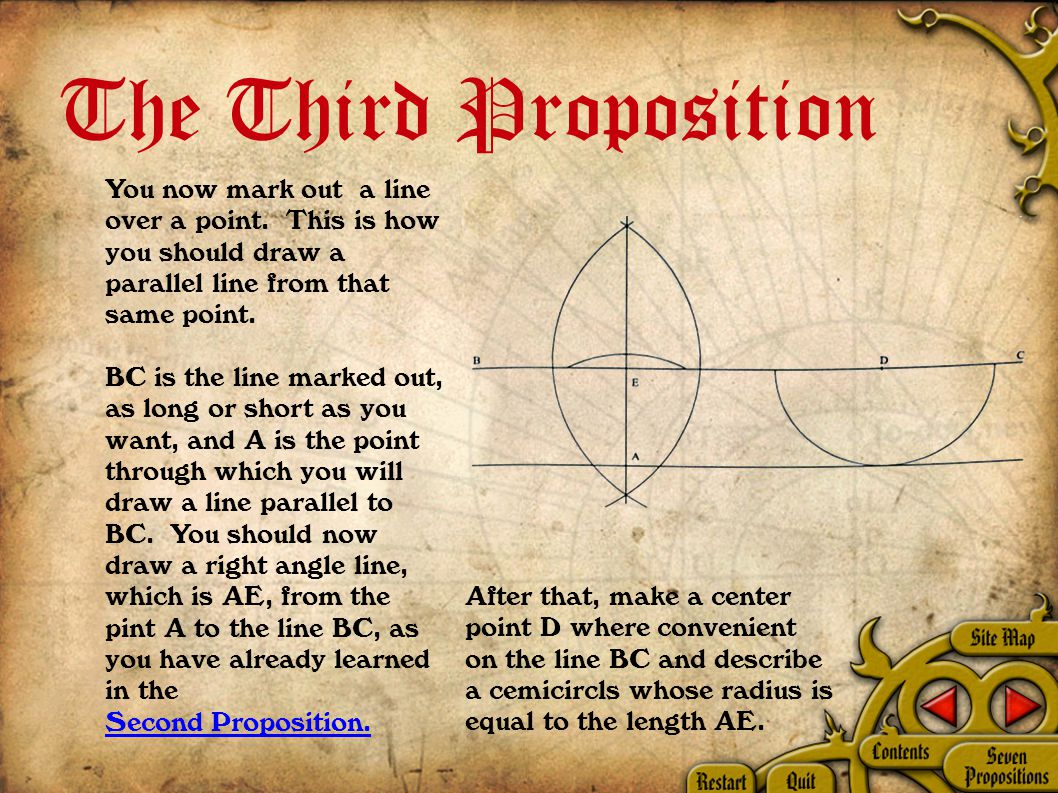 The Third Proposition You now mark out a line over a point.