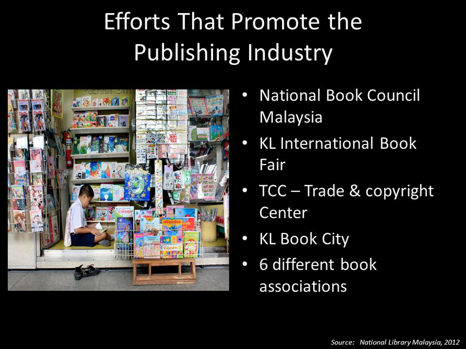 Efforts That Promote the Publishing Industry National Book Council Malaysia KL International Book Fair TCC – Trade & copyright Center KL Book City 6 different book associations Source: National Library Malaysia, 2012