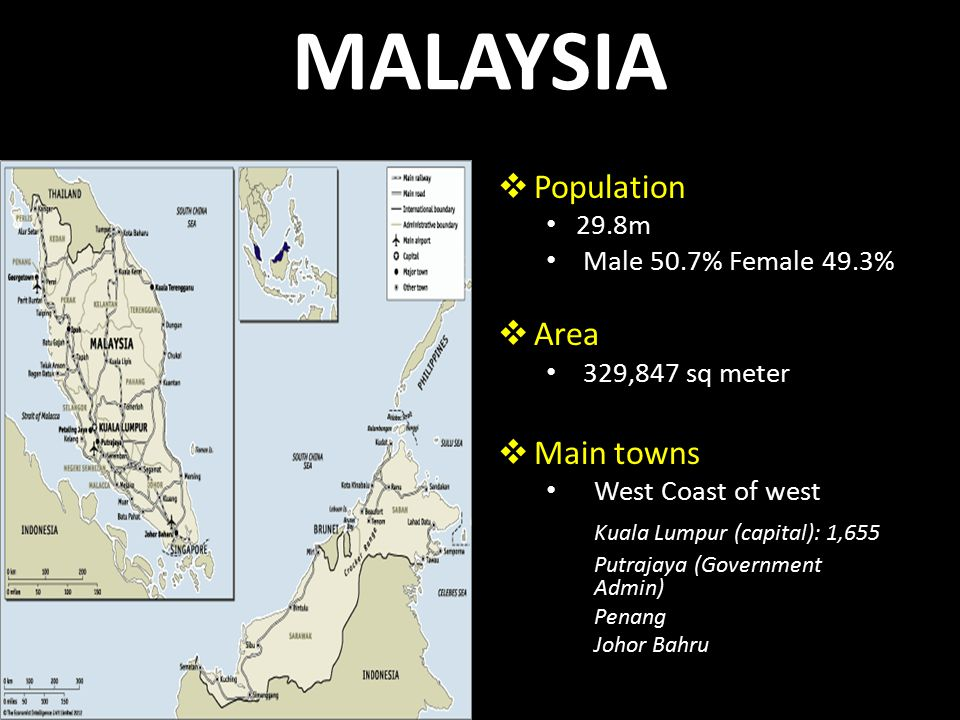 MALAYSIA  Population 29.8m Male 50.7% Female 49.3%  Area 329,847 sq meter  Main towns West Coast of west Kuala Lumpur (capital): 1,655 Putrajaya (Government Admin) Penang Johor Bahru