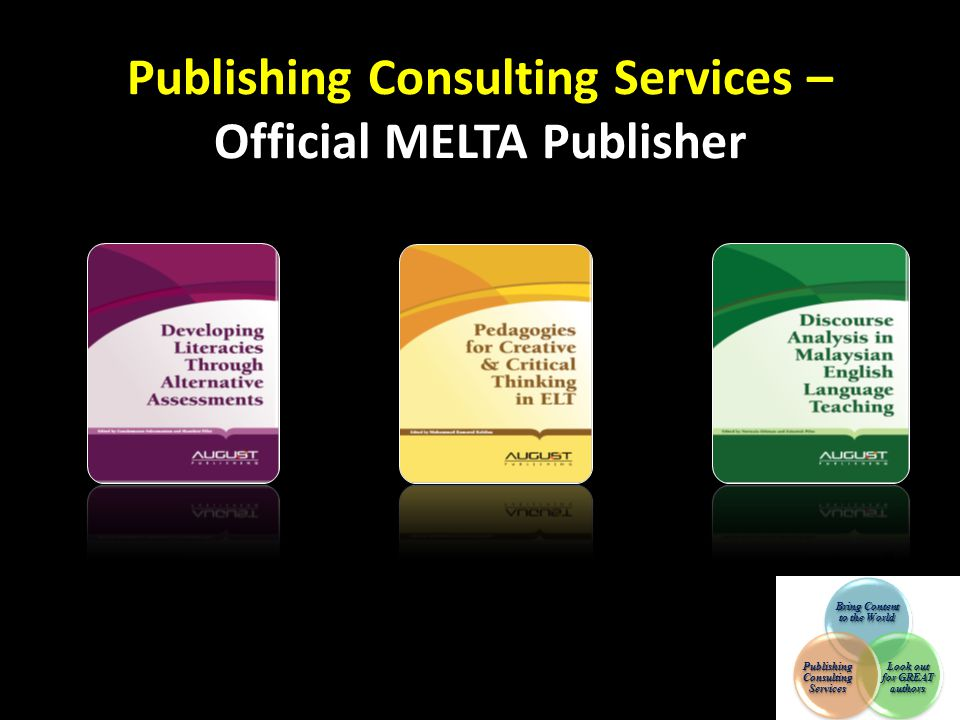 Publishing Consulting Services – Official MELTA Publisher Bring Content to the World Look out for GREAT authors Publishing Consulting Services