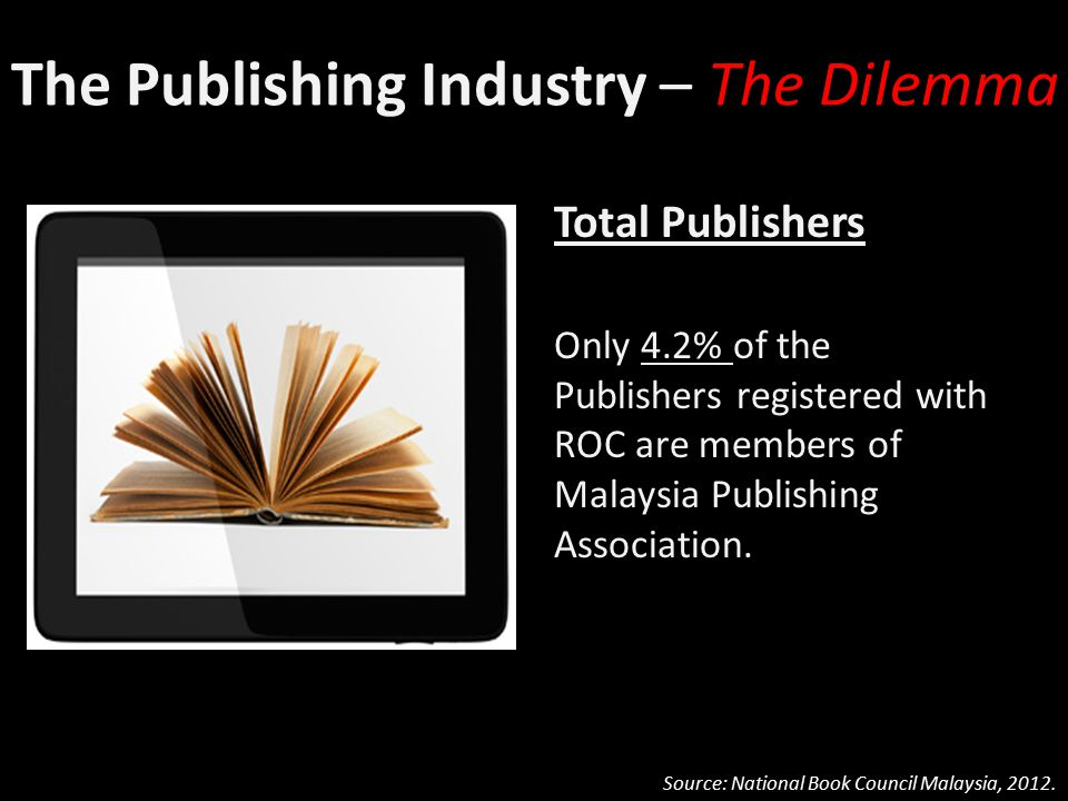 The Publishing Industry – The Dilemma Total Publishers Only 4.2% of the Publishers registered with ROC are members of Malaysia Publishing Association.
