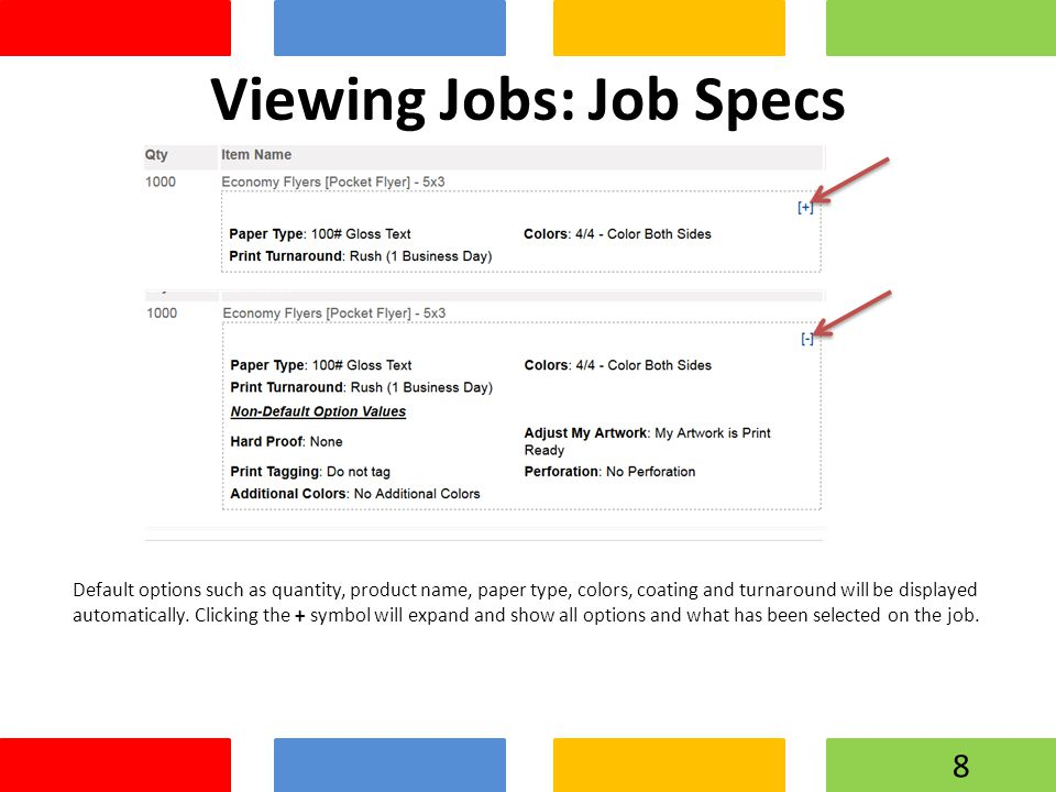 Viewing Jobs: Job Specs Default options such as quantity, product name, paper type, colors, coating and turnaround will be displayed automatically. Cl
