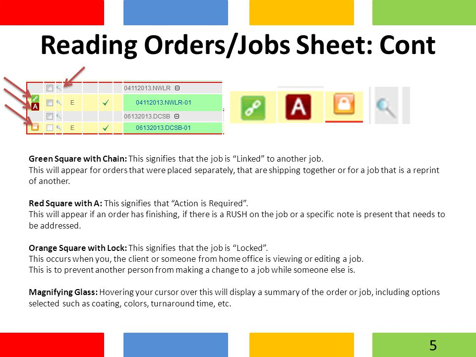 "Reading Orders/Jobs Sheet: Cont Green Square with Chain: This signifies that the job is ""Linked"" to another job. This will appear for orders that were"