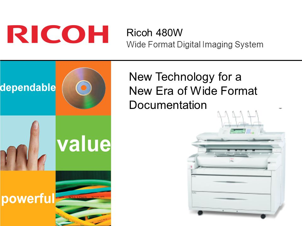 Ricoh 480W Multiple Printing Options Print from a variety of commonly used file formats and operating systems Program system to prioritize print jobs from multiple users Enable remote users to transmit print jobs over the Internet Print directly to the 480W Document Server to integrate printing and copying functions Print documents up to 49 feet long Aggregate Printing/ Password protection/ Locked Print DWG/DXF/DWF Option:Print AutoCAD files without having AutoCAD on your PC Postscript 3 Option: Print PDF files directly Add the RW-480 Print Controller plus PLOTBASE and PLOTCLIENT software and: