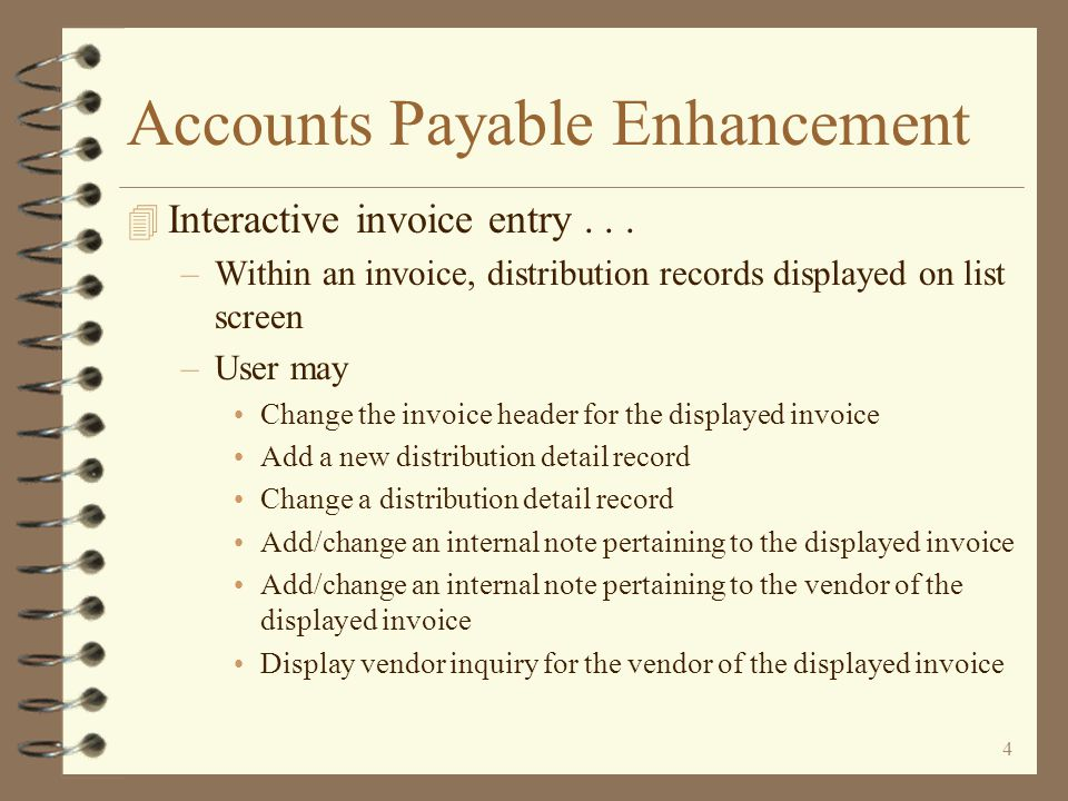 34 Selection by Invoice 4 The user initiates Selection by invoice by using the W=Work with invoices option 4 Open invoices are displayed for the selected vendor 4 An invoice may be selected and –Paid in full (discount included if not expired) –Paid in full and force an expired discount –Partial payment