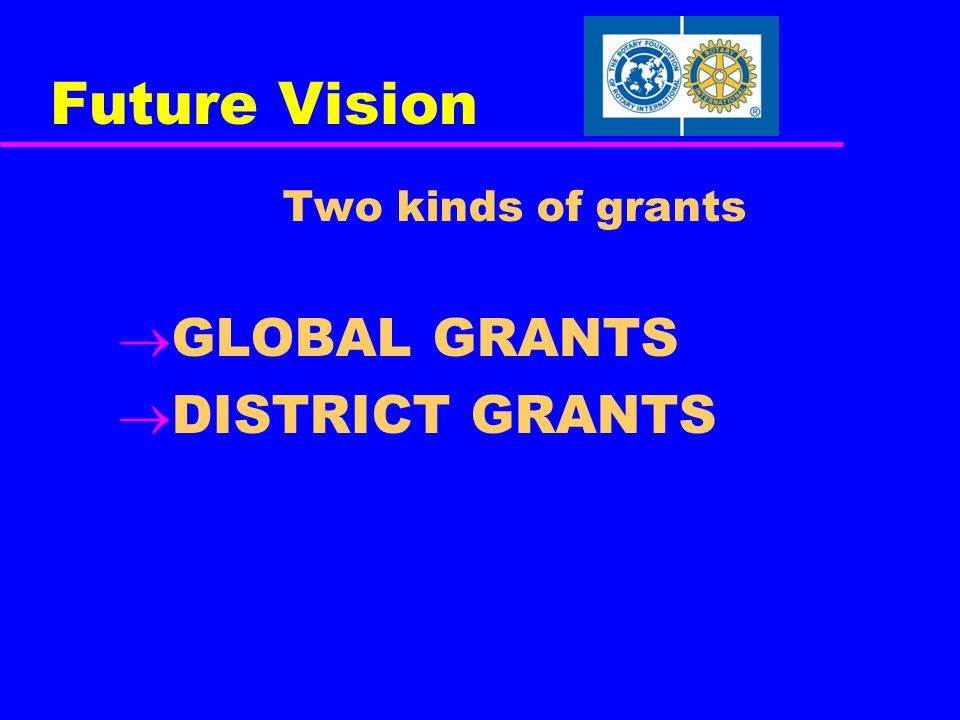 Future Vision Two kinds of grants  GLOBAL GRANTS  DISTRICT GRANTS