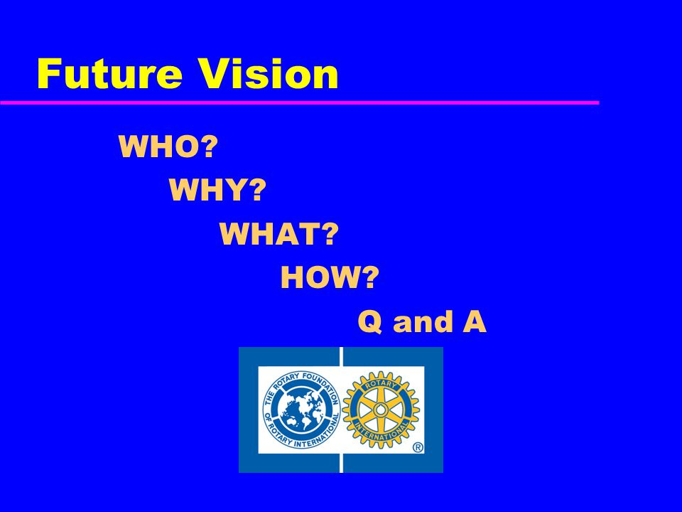 Future Vision WHO? WHY? WHAT? HOW? Q and A