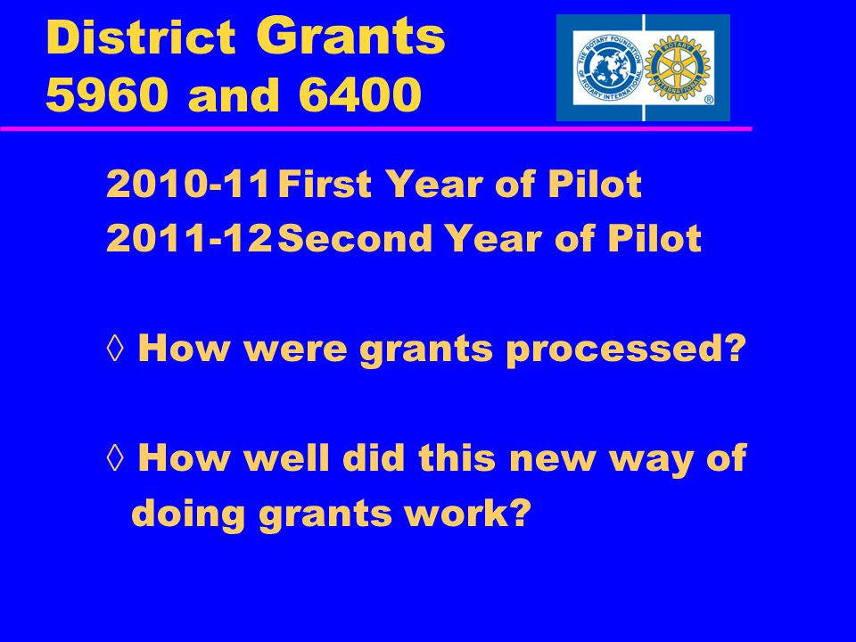 District Grants 5960 and 6400 2010-11First Year of Pilot 2011-12Second Year of Pilot ◊ How were grants processed.