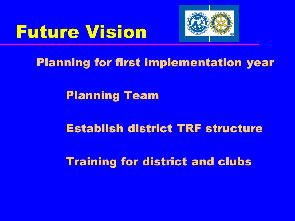 Future Vision Planning for first implementation year Planning Team Establish district TRF structure Training for district and clubs