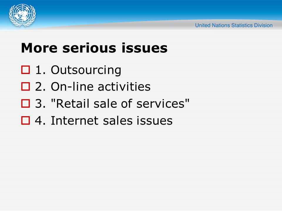 More serious issues  1. Outsourcing  2. On-line activities  3.