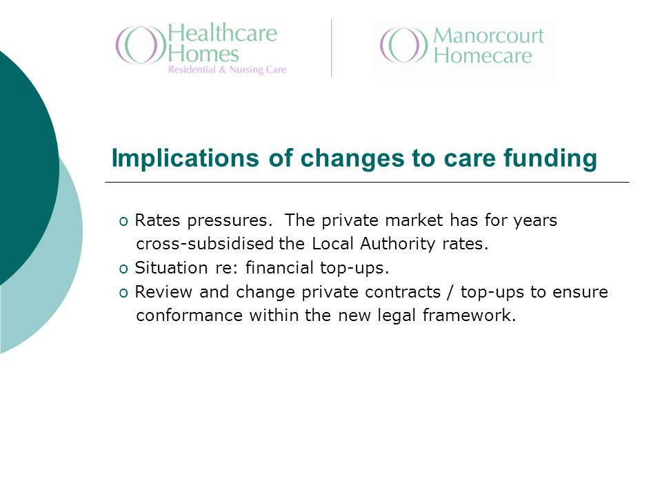 Implications of changes to care funding o Rates pressures.
