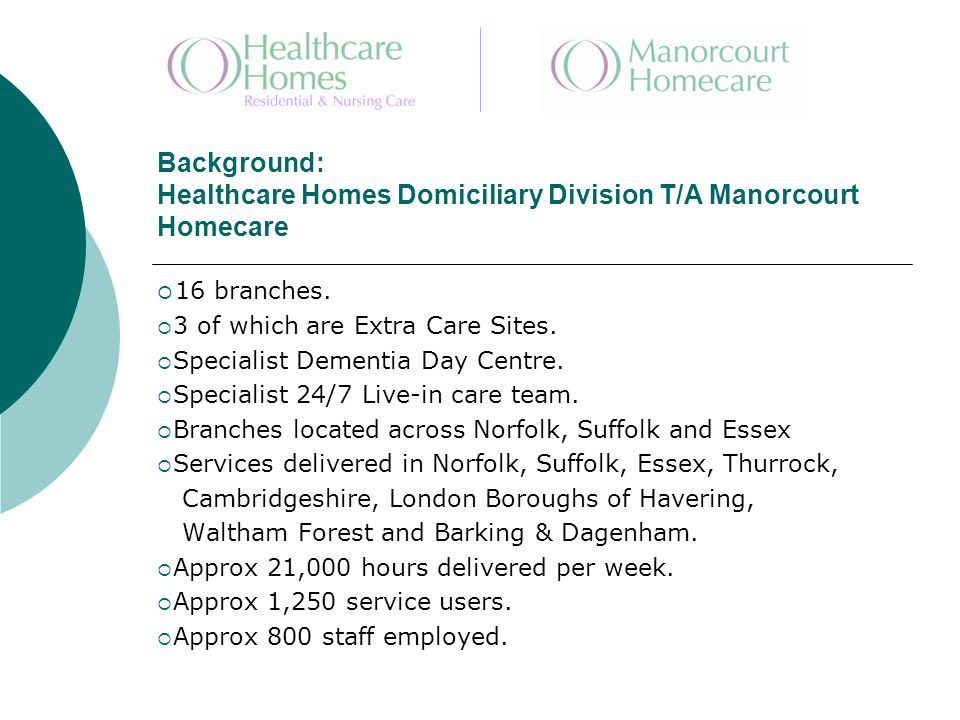 Background: Healthcare Homes Domiciliary Division T/A Manorcourt Homecare  16 branches.