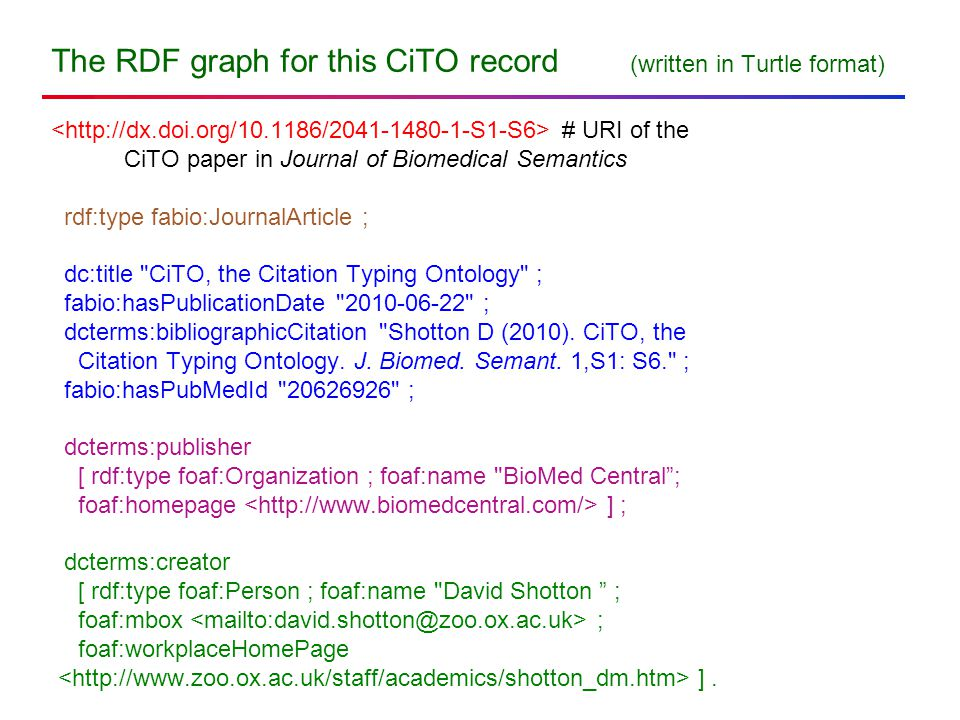 The RDF graph for this CiTO record (written in Turtle format) # URI of the CiTO paper in Journal of Biomedical Semantics rdf:type fabio:JournalArticle