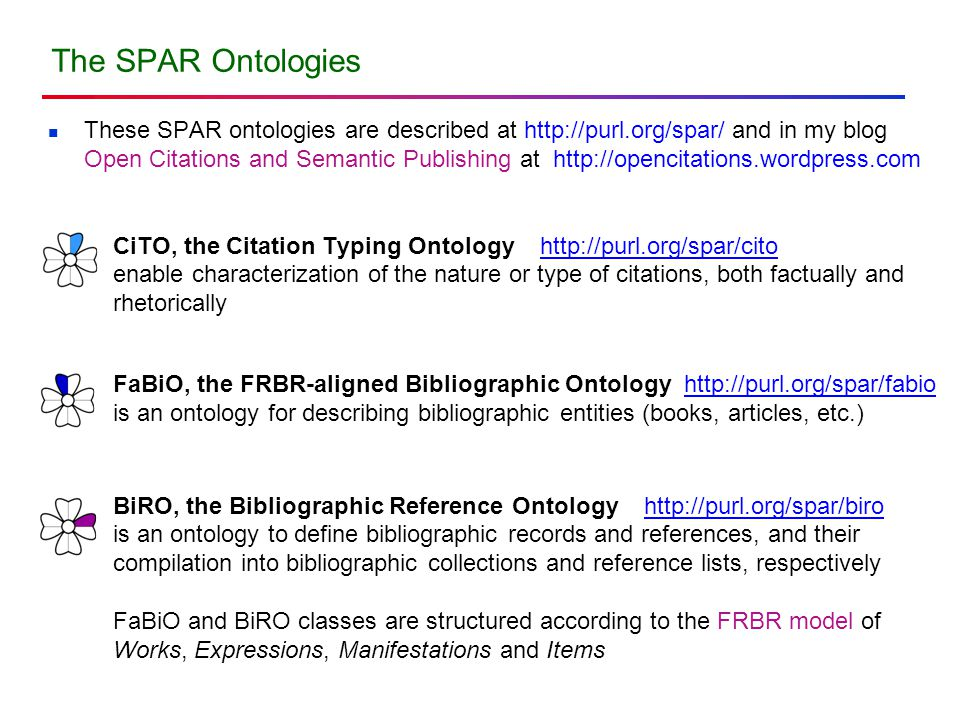 The SPAR Ontologies These SPAR ontologies are described at http://purl.org/spar/ and in my blog Open Citations and Semantic Publishing at http://opencitations.wordpress.com CiTO, the Citation Typing Ontology http://purl.org/spar/cito enable characterization of the nature or type of citations, both factually and rhetorically FaBiO, the FRBR-aligned Bibliographic Ontology http://purl.org/spar/fabio is an ontology for describing bibliographic entities (books, articles, etc.) BiRO, the Bibliographic Reference Ontology http://purl.org/spar/biro is an ontology to define bibliographic records and references, and their compilation into bibliographic collections and reference lists, respectively FaBiO and BiRO classes are structured according to the FRBR model of Works, Expressions, Manifestations and Items