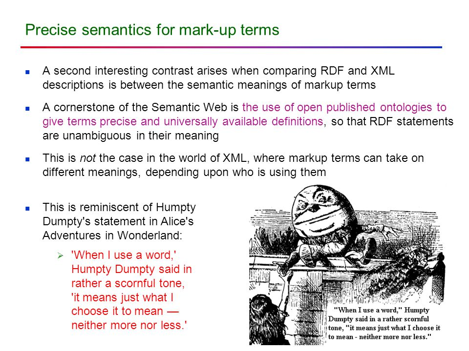Precise semantics for mark-up terms A second interesting contrast arises when comparing RDF and XML descriptions is between the semantic meanings of m
