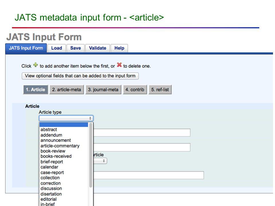 JATS metadata input form -