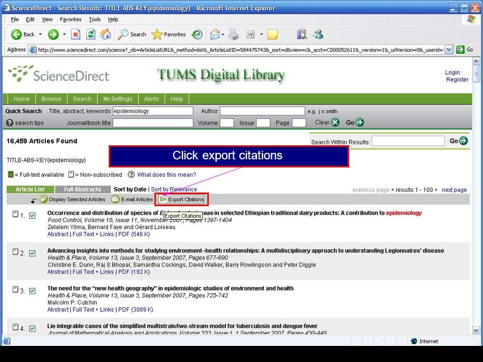 Click export citations