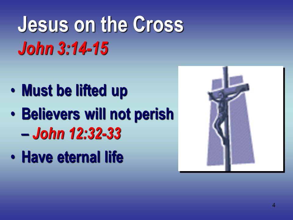 4 Jesus on the Cross John 3:14-15 Must be lifted up Must be lifted up Believers will not perish – John 12:32-33 Believers will not perish – John 12:32-33 Have eternal life Have eternal life