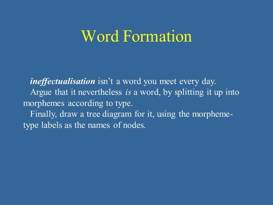 Word Formation ineffectualisation isn't a word you meet every day. Argue that it nevertheless is a word, by splitting it up into morphemes according t