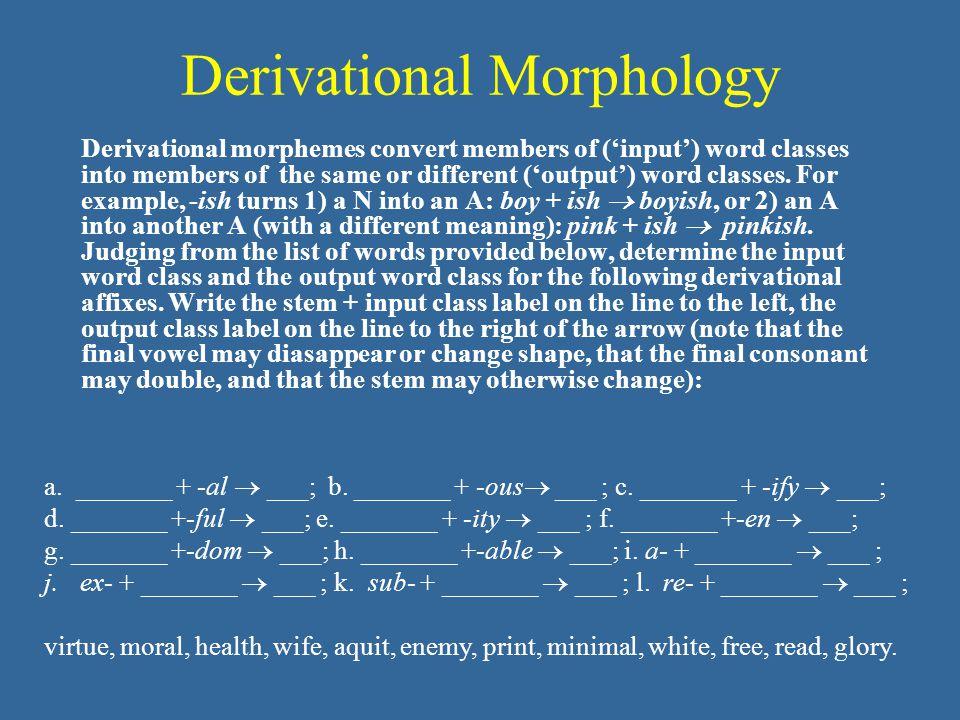 Derivational Morphology Derivational morphemes convert members of ('input') word classes into members of the same or different ('output') word classes.