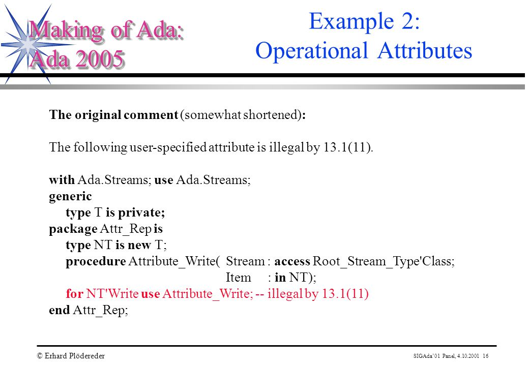 SIGAda'01 Panel, 4.10.2001 16 © Erhard Plödereder Making of Ada: Ada 2005 Making of Ada: Ada 2005 Example 2: Operational Attributes The original comment (somewhat shortened): The following user-specified attribute is illegal by 13.1(11).