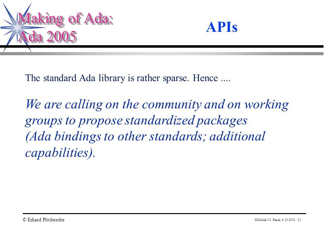 SIGAda'01 Panel, 4.10.2001 21 © Erhard Plödereder Making of Ada: Ada 2005 Making of Ada: Ada 2005 APIs The standard Ada library is rather sparse.