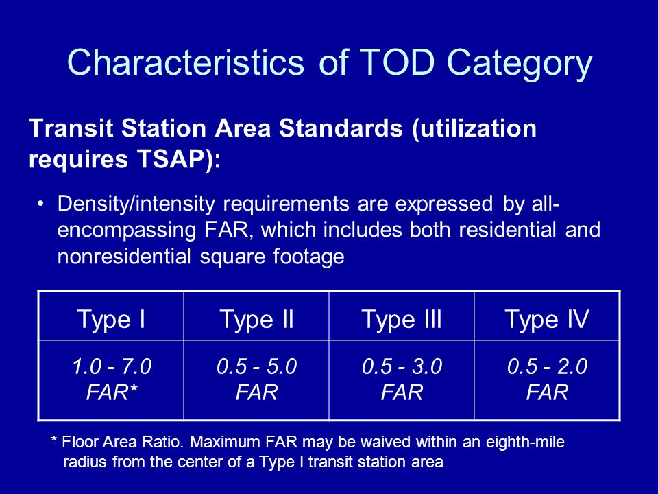 Characteristics of TOD Category Transit Station Area Standards (utilization requires TSAP): Density/intensity requirements are expressed by all- encompassing FAR, which includes both residential and nonresidential square footage Type IType IIType IIIType IV 1.0 - 7.0 FAR* 0.5 - 5.0 FAR 0.5 - 3.0 FAR 0.5 - 2.0 FAR * Floor Area Ratio.
