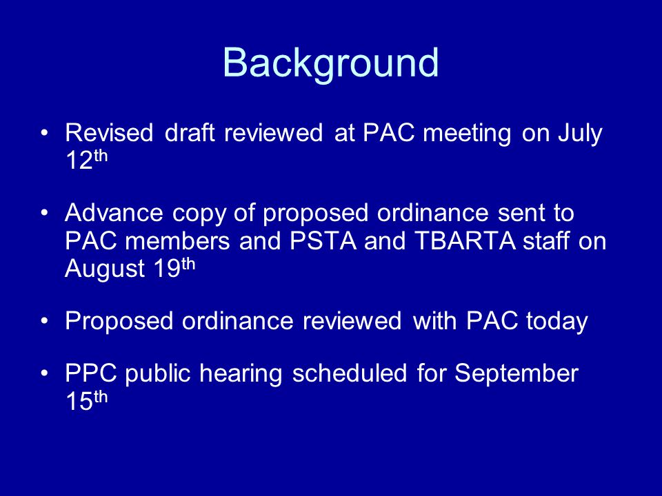 Background The proposed Rule Amendment contains: Characteristics of TOD category Required Transit Station Area Plans (TSAPs) Process by which TOD category is used