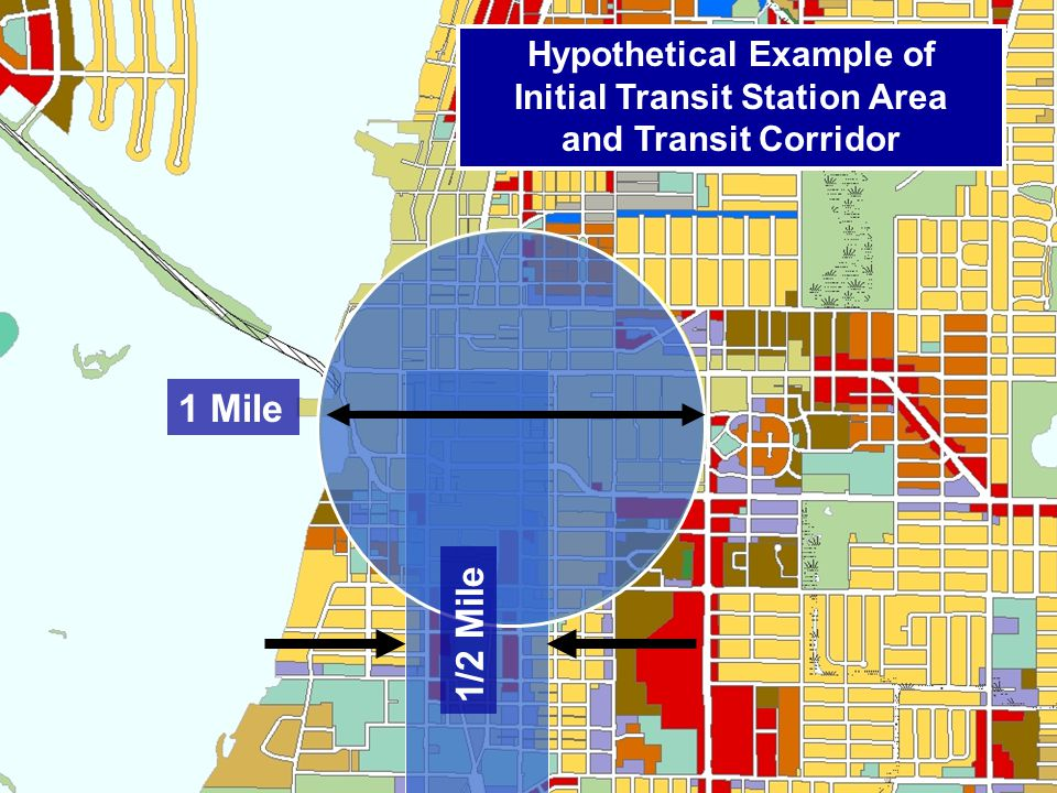 1 Mile 1/2 Mile Hypothetical Example of Initial Transit Station Area and Transit Corridor