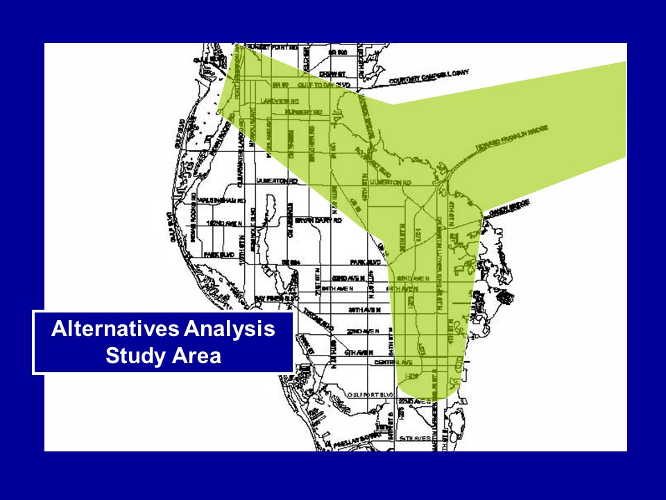 Hypothetical Example of Primary Corridors Based on Alternatives Analysis Results (Locally Preferred Alternative)