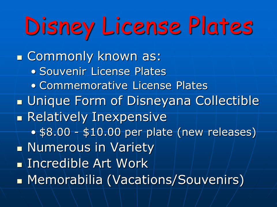 Disney License Plates PLASTIC PLATE – REMOVED PRICE TAG Remnants of a removed price tag Remnants of a removed price tag