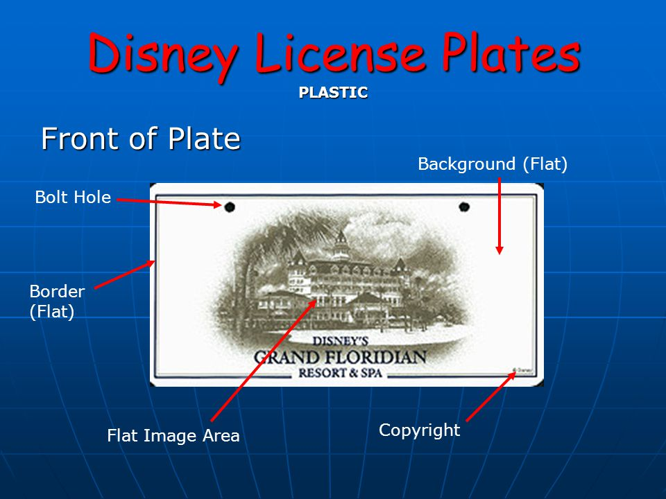 Disney License Plates PLASTIC Front of Plate Background (Flat) Border (Flat) Bolt Hole Flat Image Area Copyright