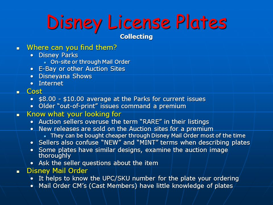 Disney License Plates Collecting Where can you find them.