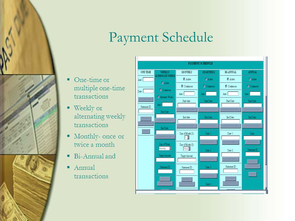 Payment Schedule  One-time or multiple one-time transactions  Weekly or alternating weekly transactions  Monthly- once or twice a month  Bi-Annual and  Annual transactions