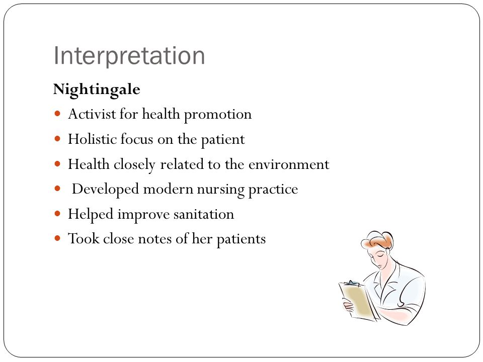 Interpretation Nightingale Activist for health promotion Holistic focus on the patient Health closely related to the environment Developed modern nursing practice Helped improve sanitation Took close notes of her patients