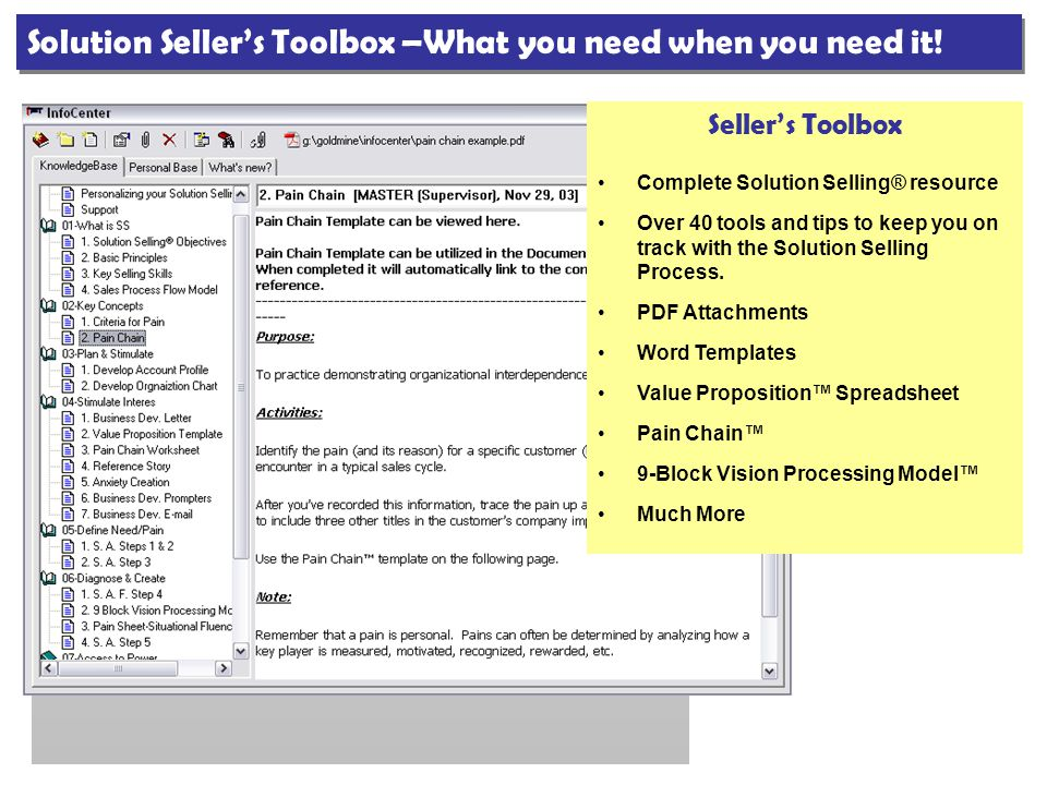 Seller's Toolbox Complete Solution Selling® resource Over 40 tools and tips to keep you on track with the Solution Selling Process. PDF Attachments Wo