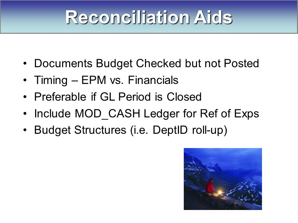Documents Budget Checked but not Posted Timing – EPM vs.