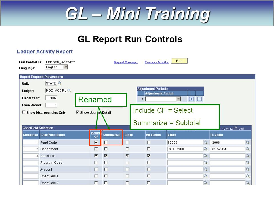 Renamed Include CF = Select Summarize = Subtotal GL – Mini Training GL Report Run Controls