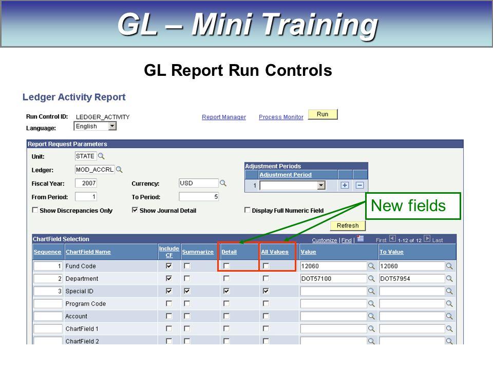 New fields GL – Mini Training GL Report Run Controls