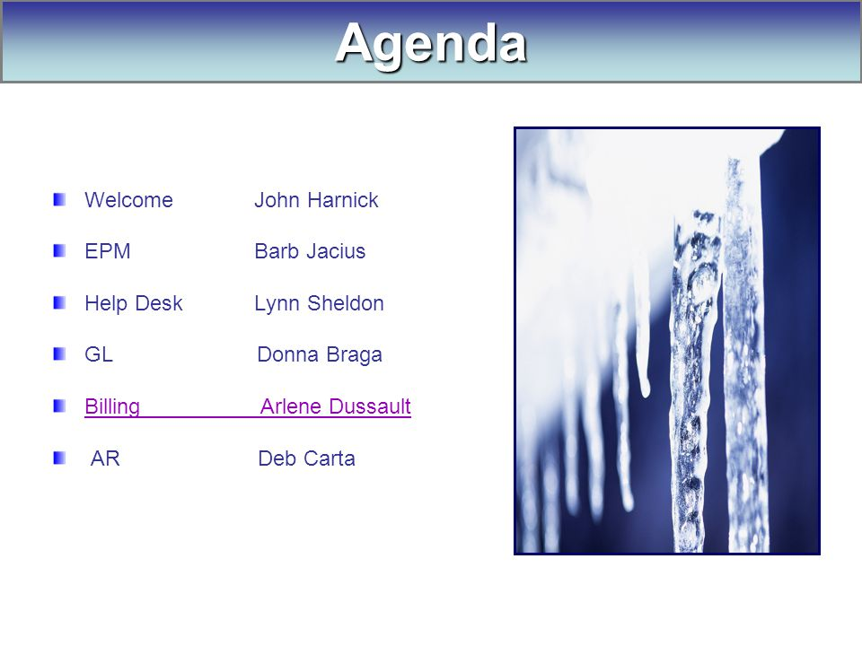 Welcome John Harnick EPM Barb Jacius Help Desk Lynn Sheldon GL Donna Braga Billing Arlene Dussault AR Deb Carta Agenda
