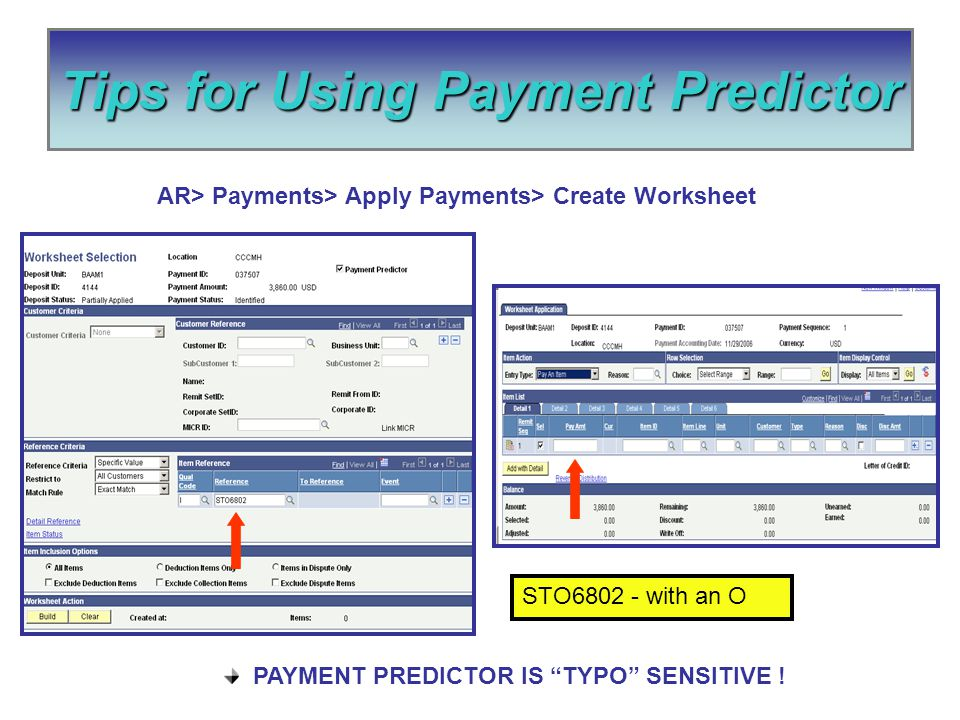 Tips for Using Payment Predictor PAYMENT PREDICTOR IS TYPO SENSITIVE .