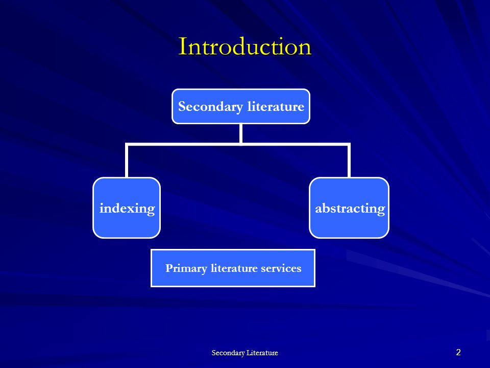 2 Introduction Secondary literature indexingabstracting Primary literature services