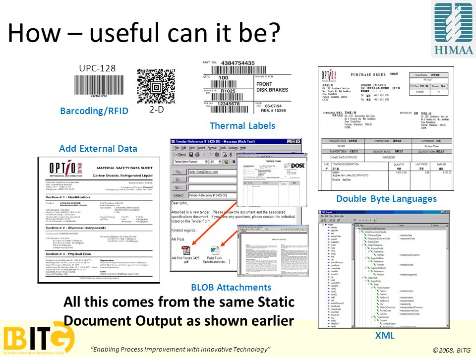 """Enabling Process Improvement with Innovative Technology"" ©2008. BITG Thermal Labels Add External Data Double Byte Languages BLOB Attachments XML All"