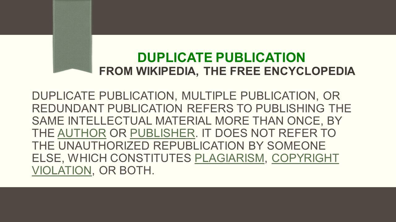 Duplicate manuscript