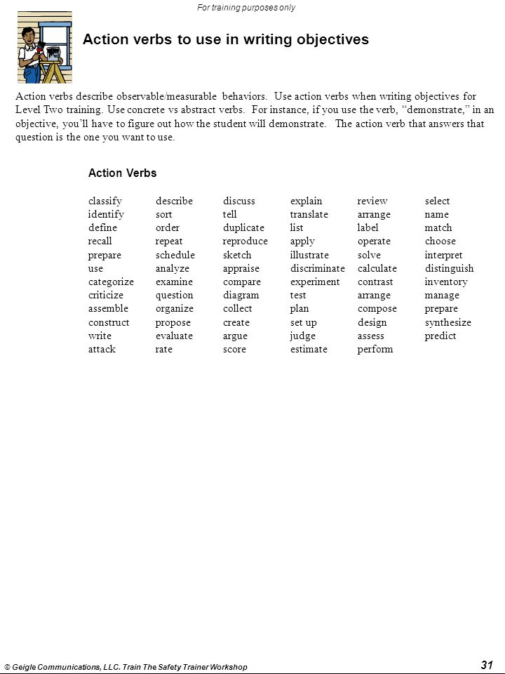31 © Geigle Communications, LLC. Train The Safety Trainer Workshop For training purposes only Action verbs to use in writing objectives Action verbs d